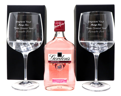 Personalised Pair of Balloon Gin Cocktail Glasses & 35cl Bottle of Gordon's Pink Gin