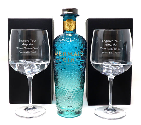 Personalised Pair of Balloon Gin Cocktail Glasses & 70cl Bottle of Mermaid Blue Gin