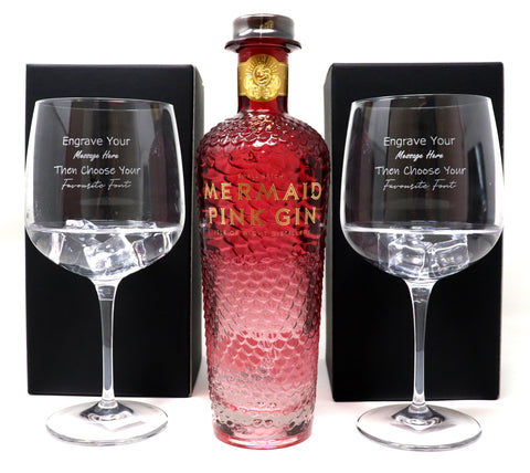 Personalised Pair of Balloon Gin Cocktail Glasses & 70cl Bottle of Mermaid Pink Gin