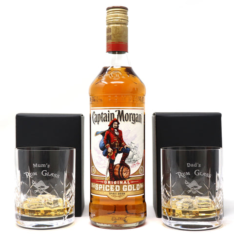 Personalised Pair of Crystal Glass Tumblers & 70cl Bottle of Captain Morgan Spiced Rum - Rum Design