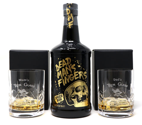 Personalised Pair of Crystal Glass Tumblers & 70cl Bottle of Dead Man's Fingers Spiced Rum - Rum Design