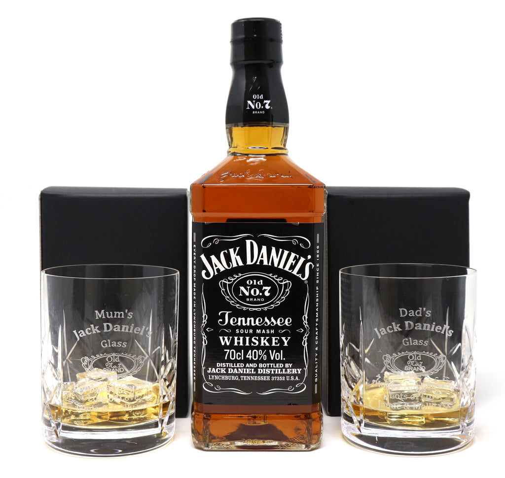 Personalised Pair of Crystal Glass Tumblers & 70cl Bottle of Jack Daniels - Jack Daniels Design