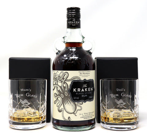 Personalised Pair of Crystal Glass Tumblers & 70cl Bottle of Kraken Spiced Rum - Rum Design