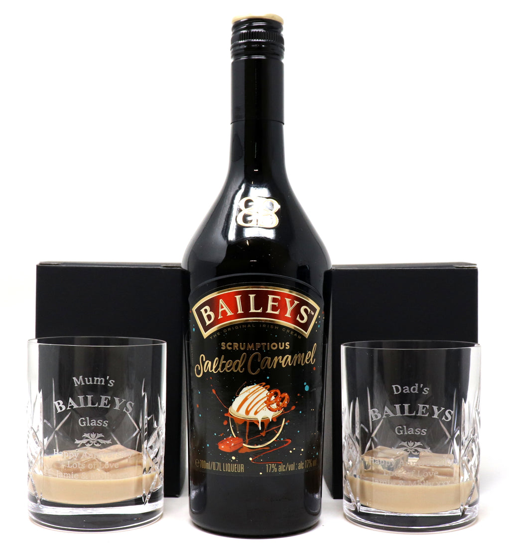 Personalised Pair of Crystal Glass Tumblers & 70cl Bottle of Baileys Salted Caramel - Baileys Design