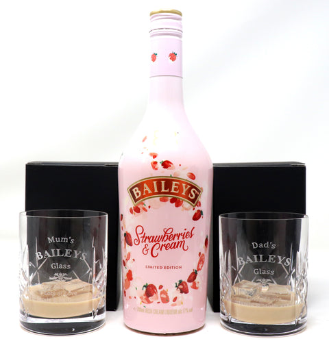 Personalised Pair of Crystal Glass Tumblers & 70cl Bottle of Baileys Strawberries & Cream - Baileys Design