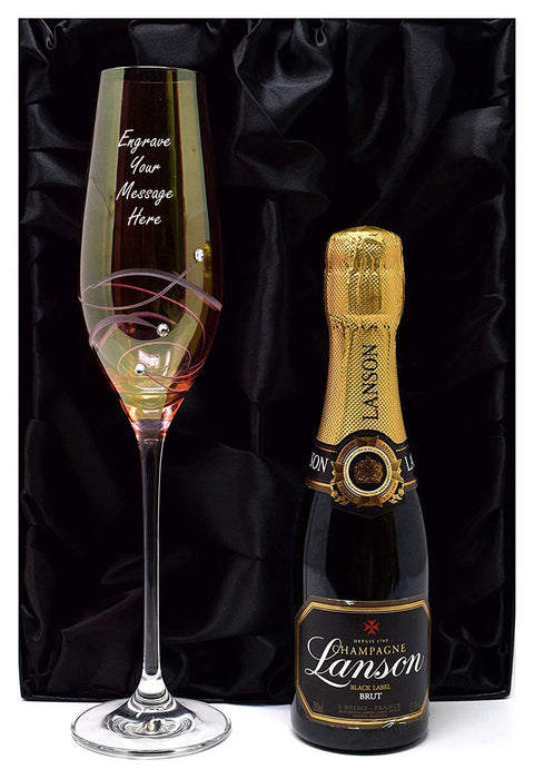 Personalised Pink Diamante Flute Glass + Champagne in Silk Lined Gift Box