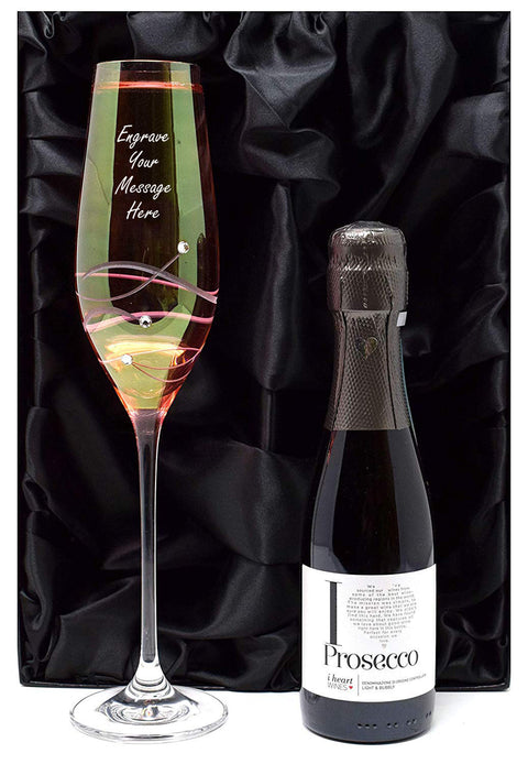 Personalised Pink Diamante Flute Glass + Prosecco in Silk Lined Gift Box