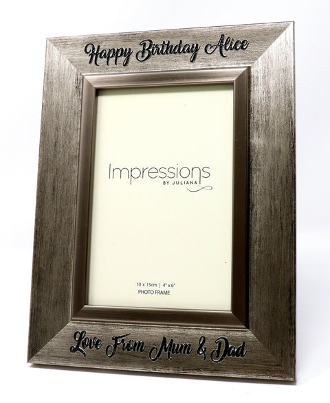 Engraved/Personalised Pewter Effect Photo Frame 6x4