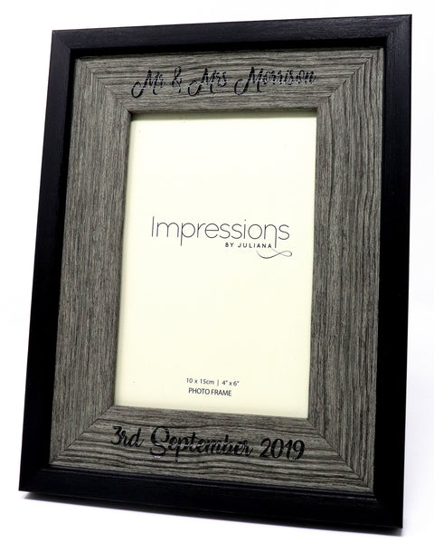 Engraved/Personalised Wood Effect Photo Frame 6x4