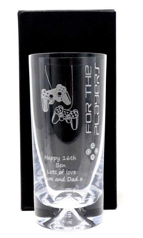 Personalised Dimple Base Highball Glass - Playstation Design