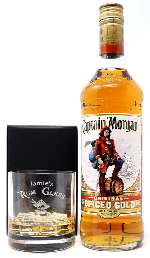 Personalised Premium Tumbler & 70cl Captain Morgan Spiced Rum - Rum Design