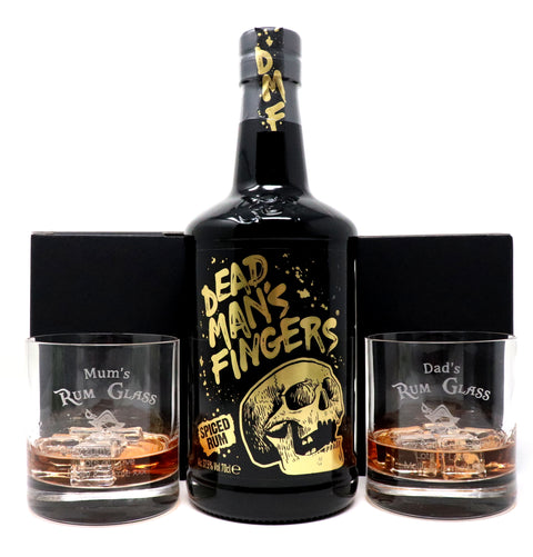 Personalised Pair of Premium Tumblers & 70cl Bottle of Dead Man's Fingers Spiced Rum - Rum Design