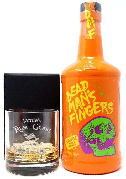 Personalised Premium Tumbler & 70cl Dead Man's Fingers Pineapple Rum - Rum Design