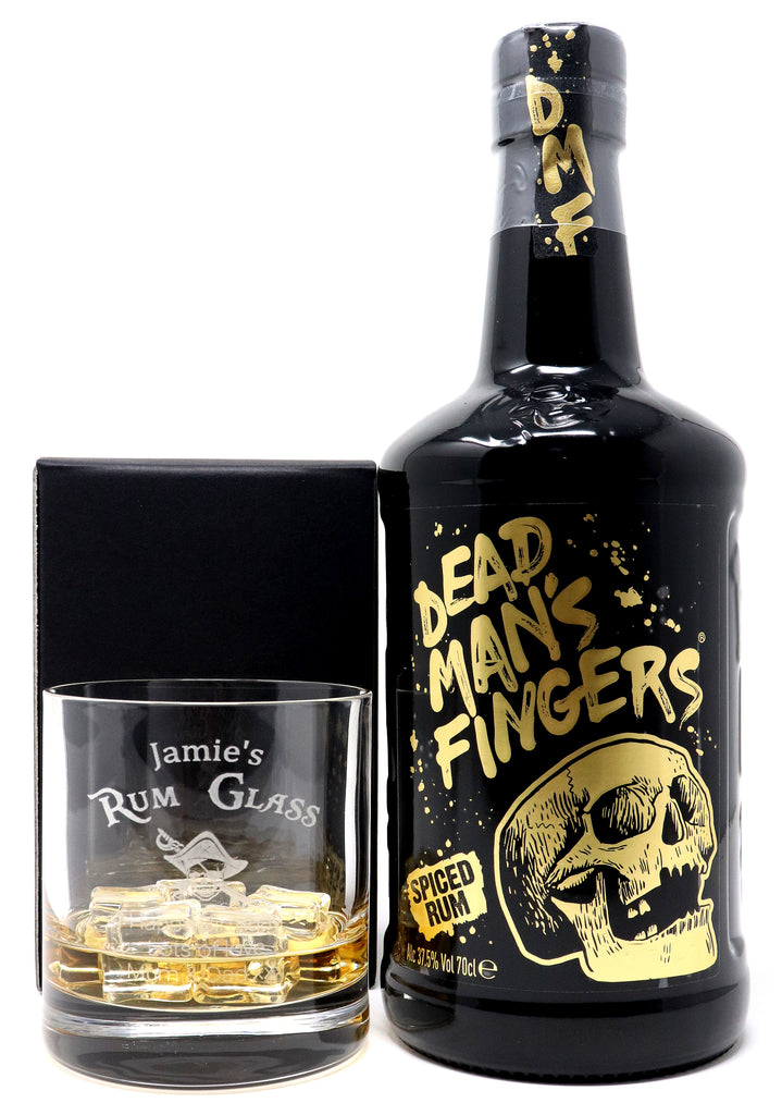 Personalised Premium Tumbler & 70cl Dead Man's Fingers Spiced Rum - Rum Design