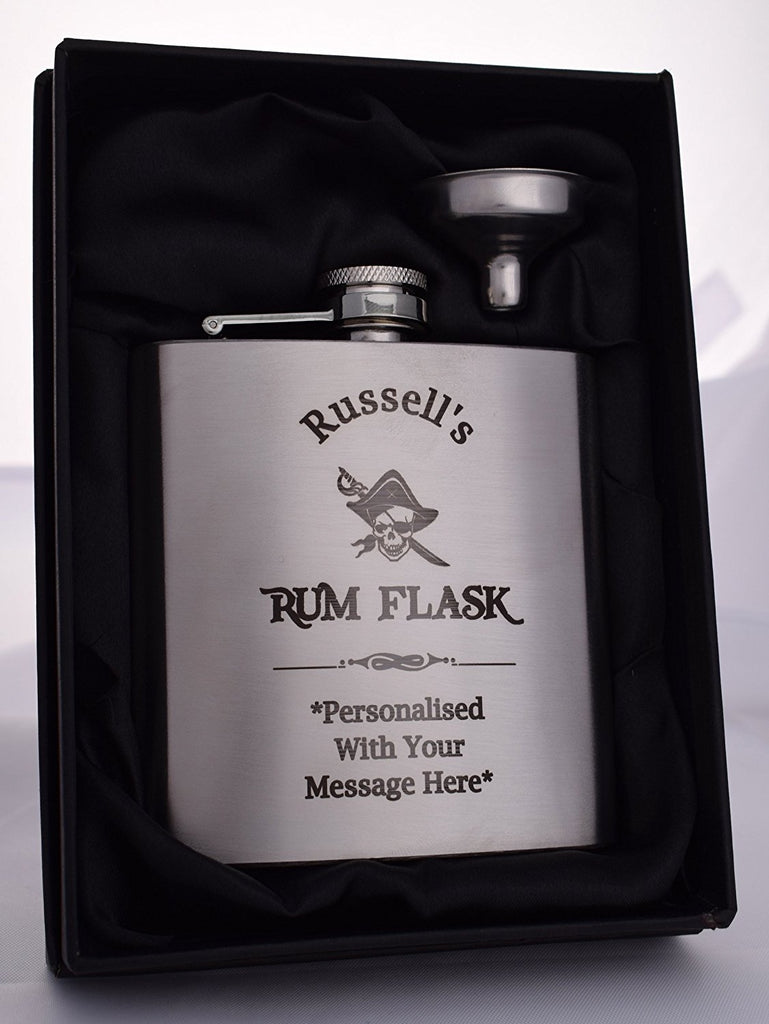Personalised Silver Hip Flask in Gift Box - Rum Design