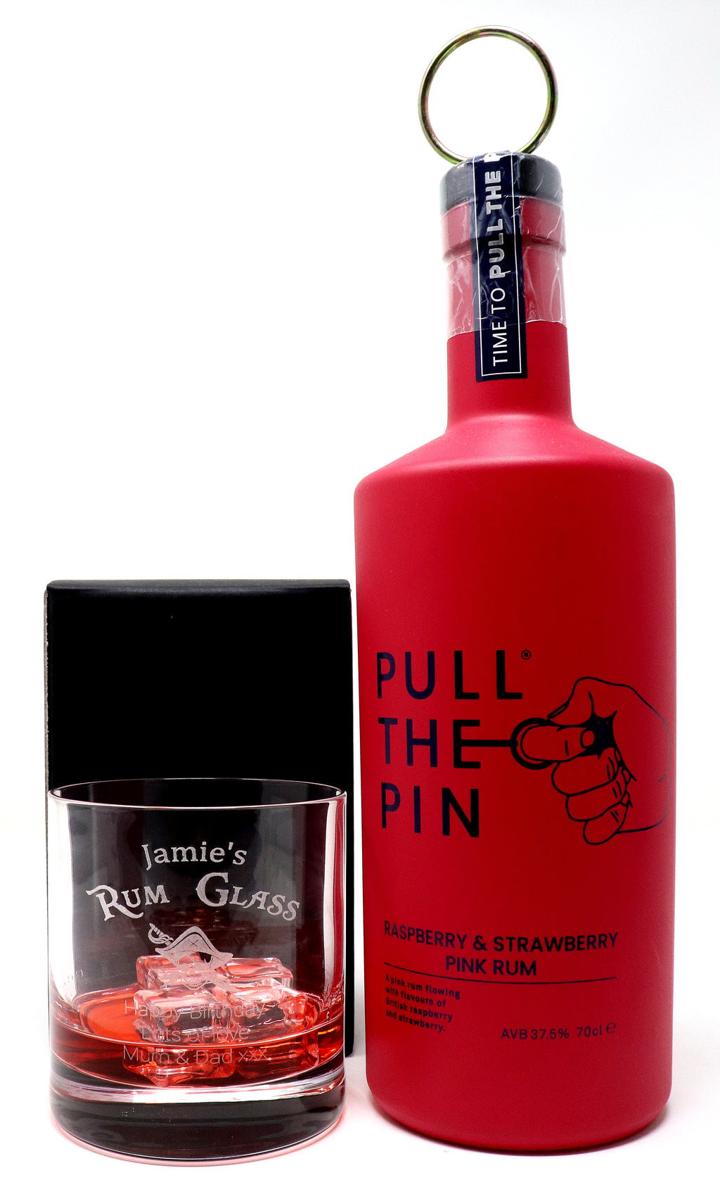 Personalised Premium Tumbler & 70cl Pull The Pin Raspberry & Strawberry Rum - Rum Design