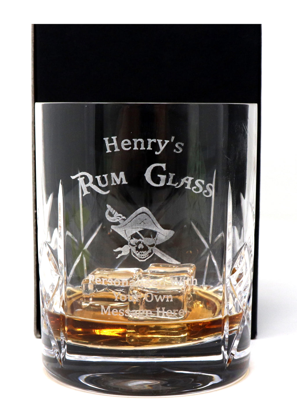 Personalised Crystal Glass Tumbler - Rum Design