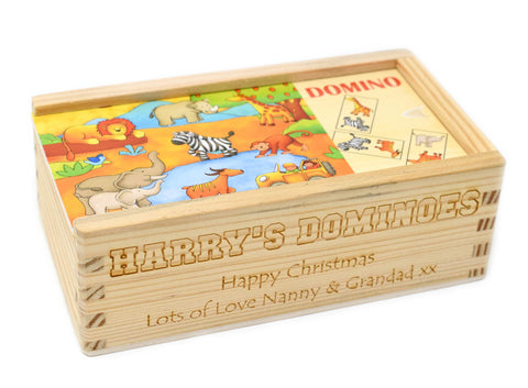Personalised/Engraved Wooden Safari Animal Dominoes