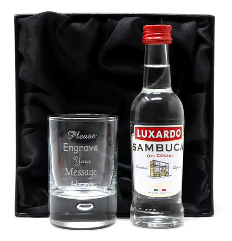 Personalised Shot Glass & Sambuca in Silk Gift Box
