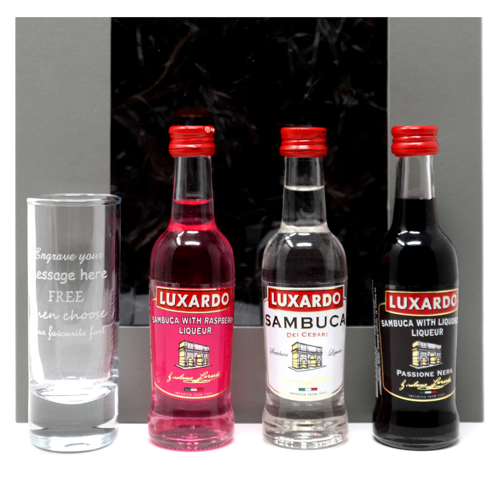 Personalised/Engraved Tall Shot Glass + 3 Sambuca Miniatures in Grey Gift Box