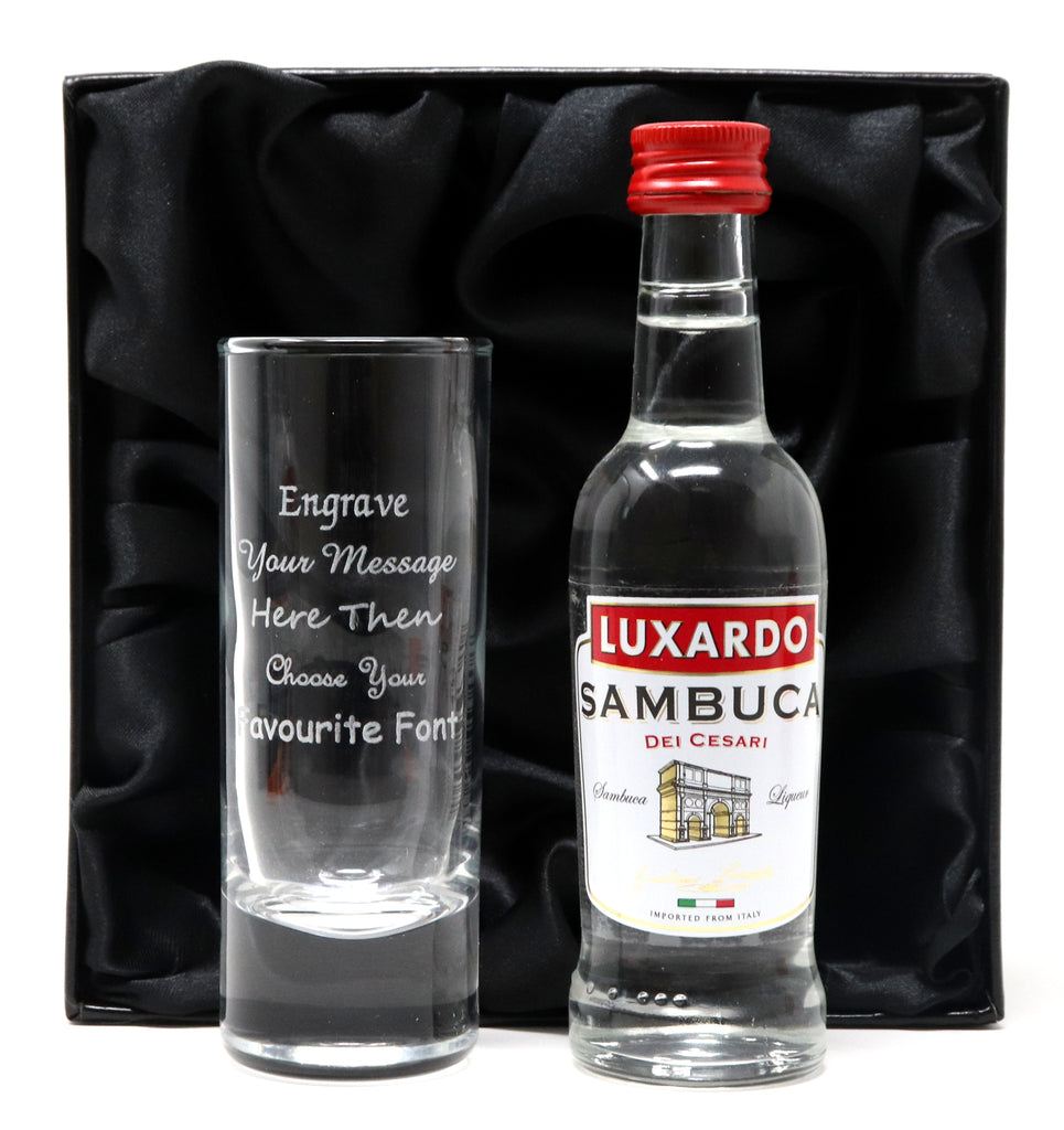 Personalised Tall Shot Glass & Sambuca Miniature
