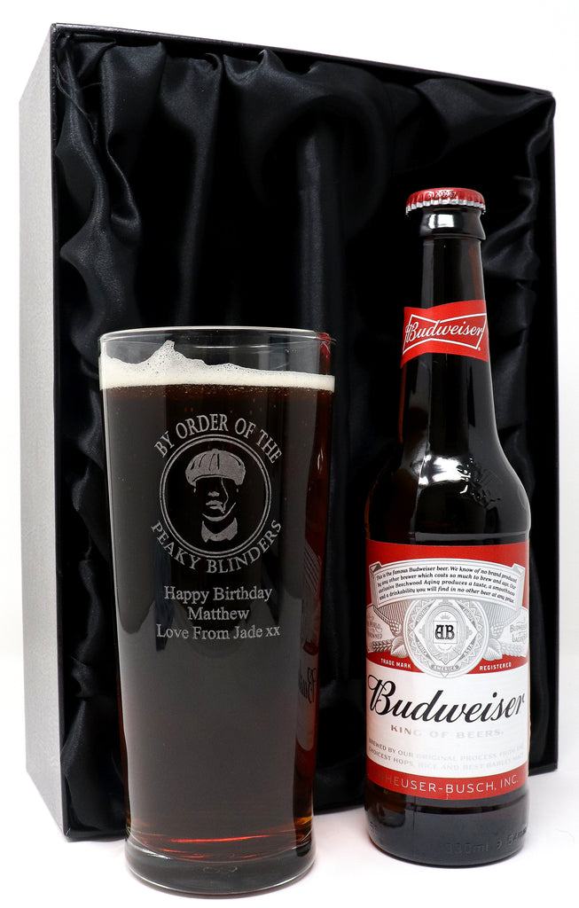Personalised New Pint Glass & Bottle of Beer/Cider/Guinness in Silk Gift Box - Peaky Blinders Design