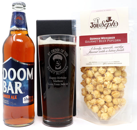 Personalised New Pint Glass & Bottle of Beer/Guinness & Beer Popcorn in Silk Gift Box - Peaky Blinders Design