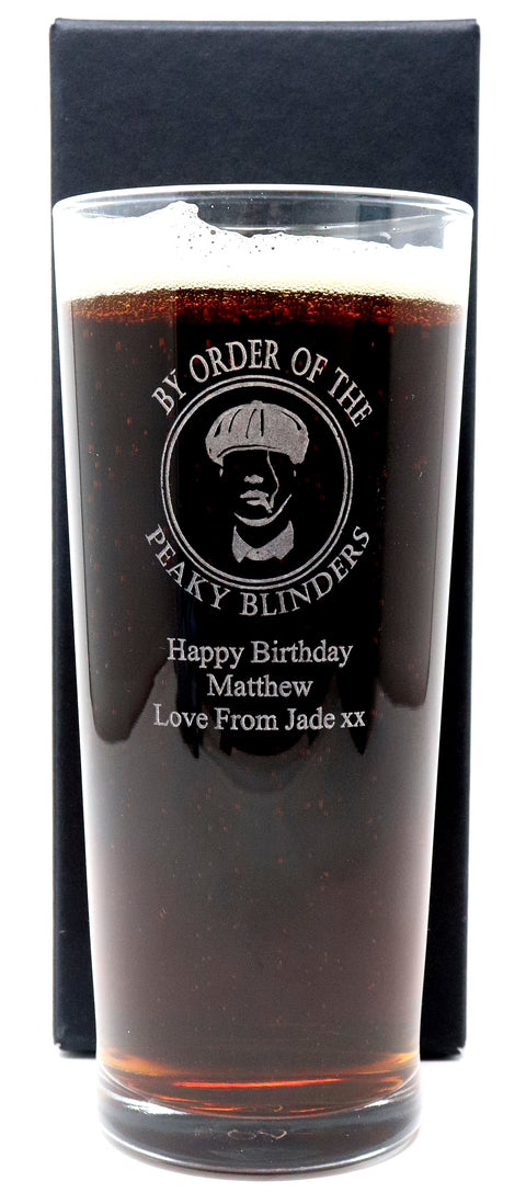 Personalised New Pint Glass - Peaky Blinders Design