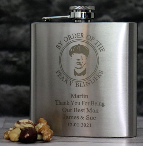 Personalised Silver Hip Flask in Gift Box - Peaky Blinders Design