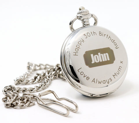 Personalised Silver Pocket Watch - Badge Design