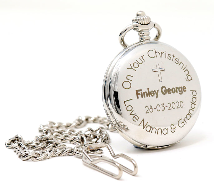 Personalised Silver Pocket Watch - Christening/Communion Design
