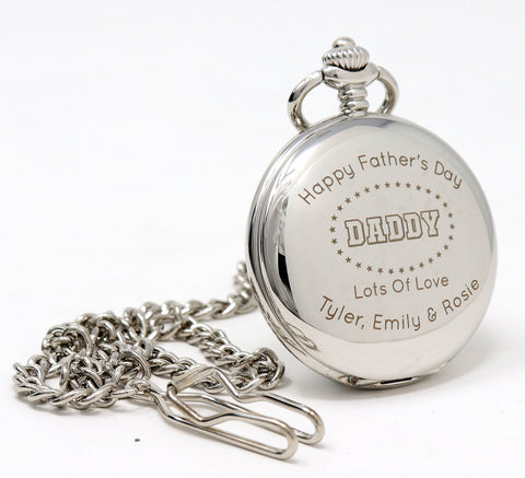 Personalised Silver Pocket Watch - Father's Day