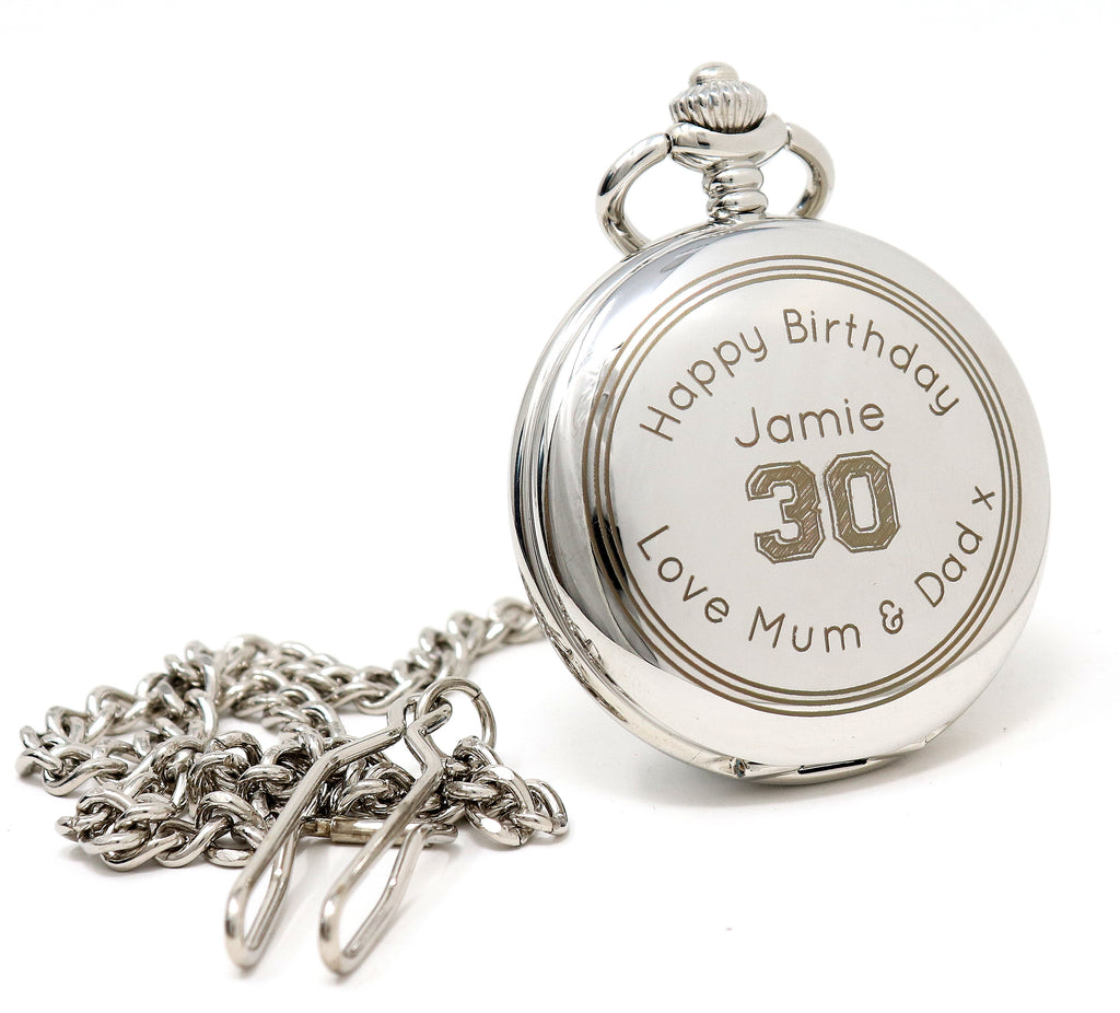 Personalised Silver Pocket Watch - Birthday Design