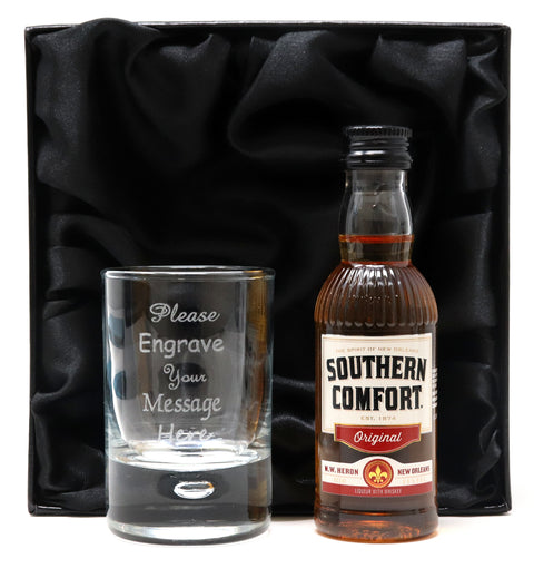 Personalised Shot Glass & Southern Comfort in Silk Gift Box