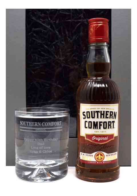 Personalised Dimple Base Glass Tumbler & 35cl Southern Comfort in Grey Presentation Gift Box - Southern Comfort Design