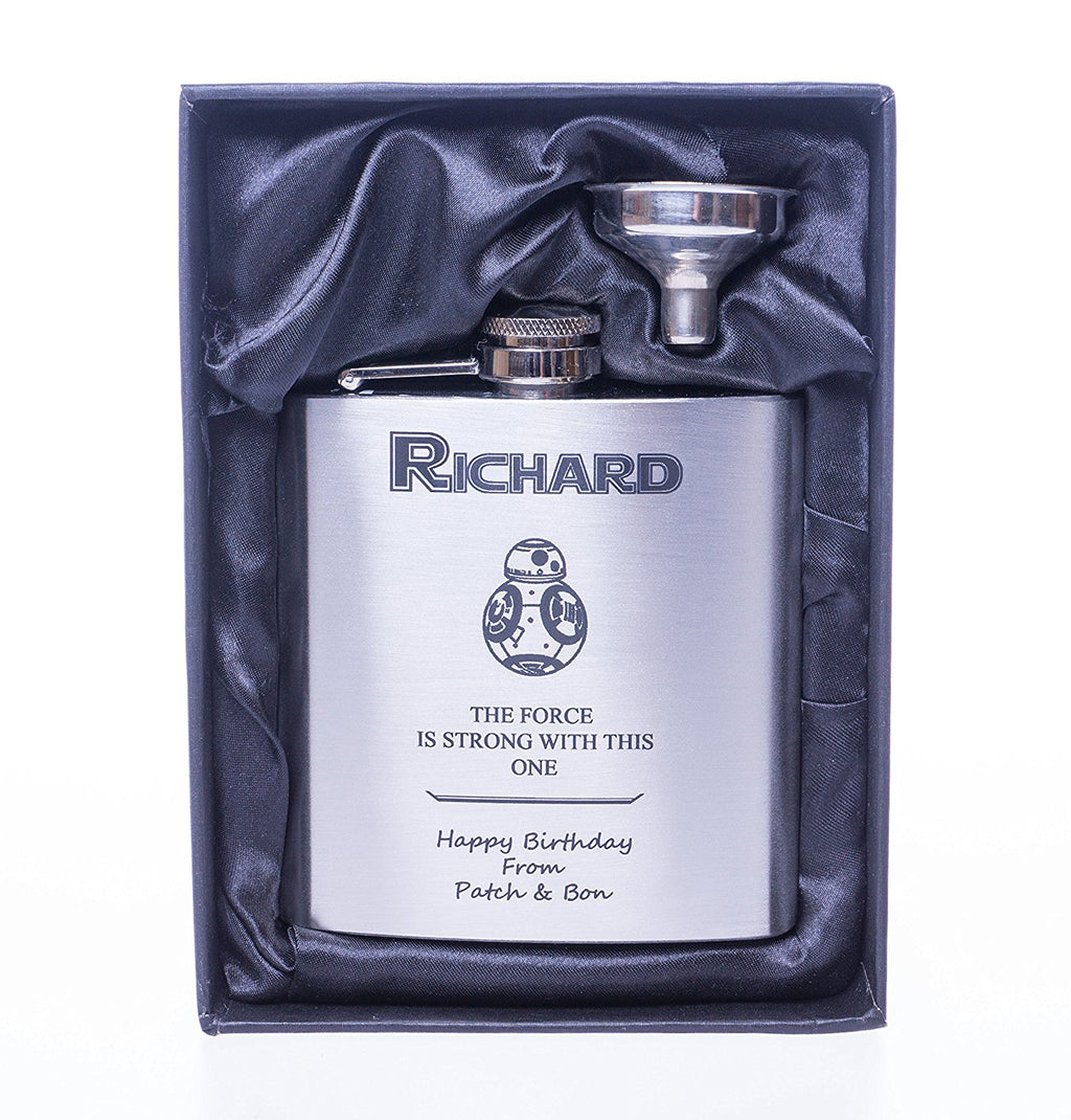 Personalised *Silver* Hip Flask in Gift Box - Star Wars BB8 Design