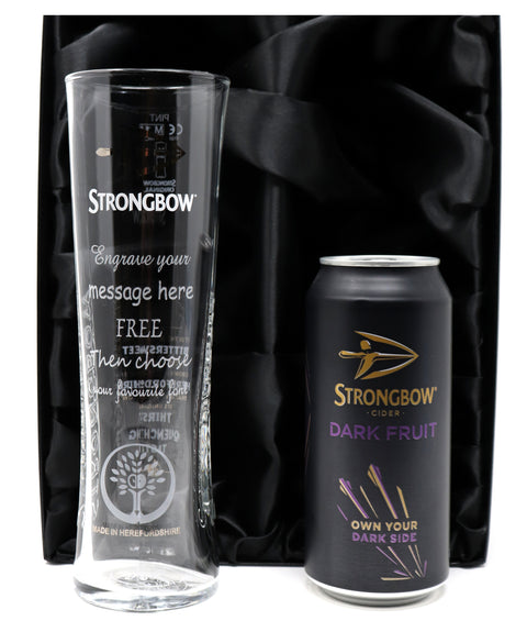 Personalised Strongbow Pint Glass & Bottle/Can In Silk Gift Box