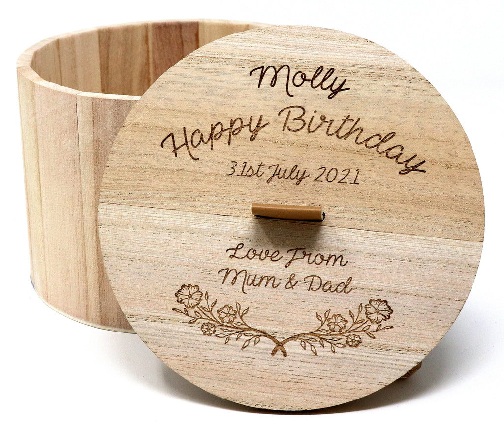 Personalised/Engraved Wooden Circular Gift Box