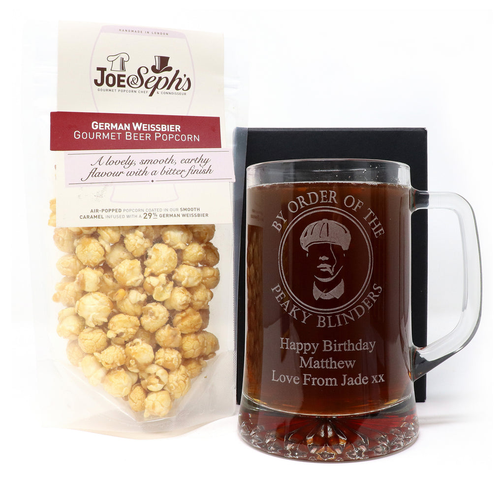 Personalised Pint Glass Tankard & Beer Popcorn - Peaky Blinders Design