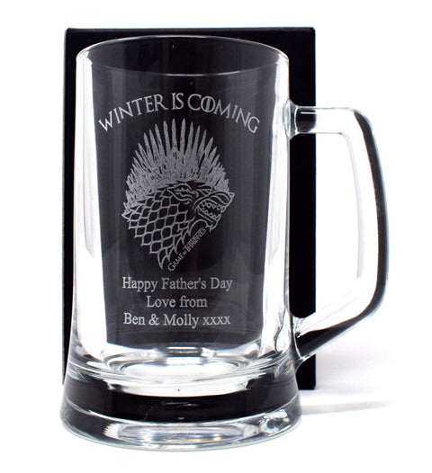 Personalised Pint Glass Tankard - Games of Thrones Winter is Coming Design