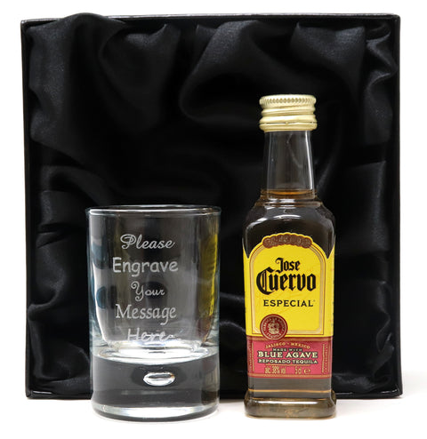 Personalised Shot Glass & Tequila Miniature