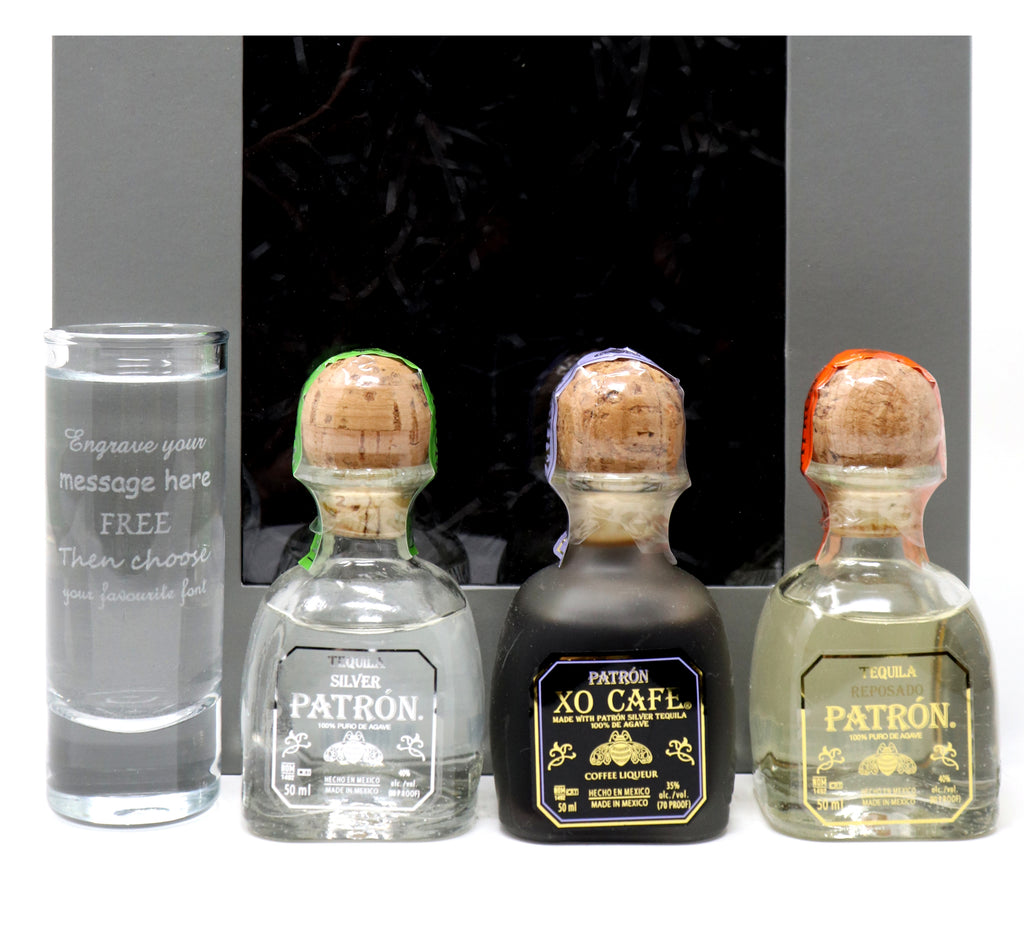 Personalised/Engraved Tall Shot Glass + 3 Tequila Miniatures in Grey Gift Box