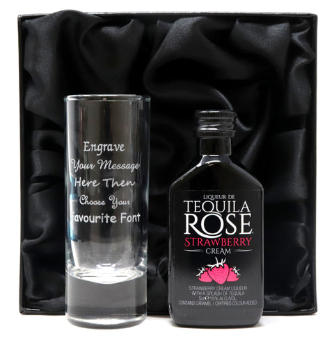 Personalised Tall Shot Glass & Tequila in Silk Gift Box