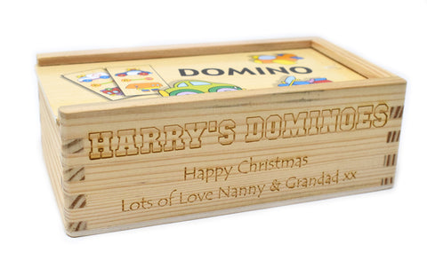 Personalised/Engraved Wooden Vehicle Dominoes