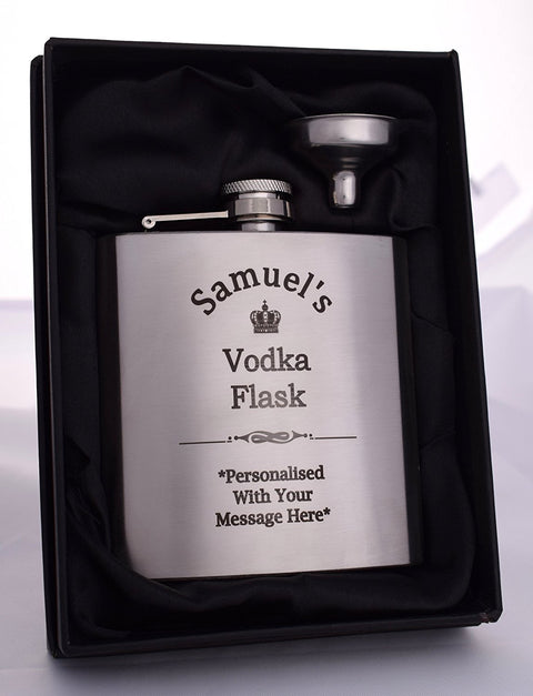 Personalised Silver Hip Flask in Gift Box - Vodka Design