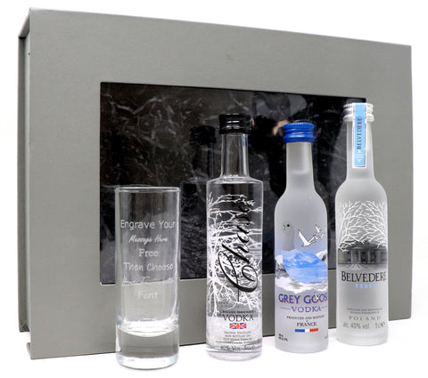 Personalised Tall Shot Glass & 3 Vodka Miniatures