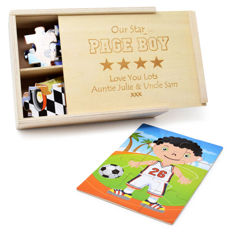 Personalised/Engraved Wooden Boys In Costume Jigsaw Puzzles