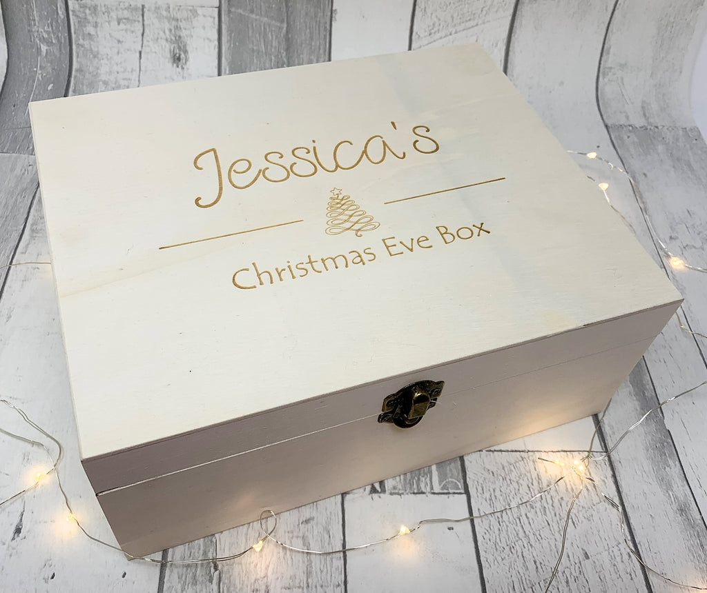 Personalised/Engraved Wooden Tree Design Christmas Eve Box