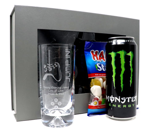 Personalised Dimple Base Highball Glass & Energy Drink in a Grey Presentation Gift Box - Xbox Design