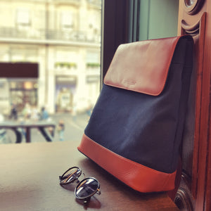 Moraltive Rucksacks - Navy Blue & Tan